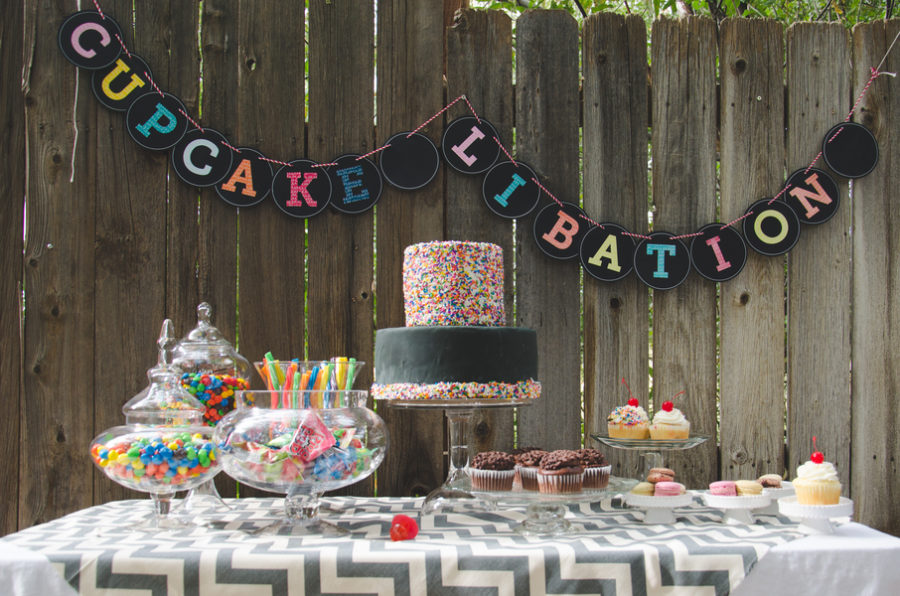 Retro meets modern birthday dessert table 8