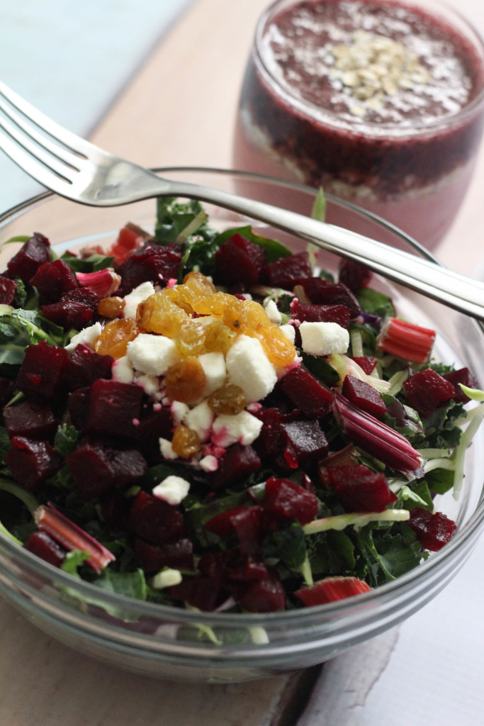Beet Kale Salad with Springtime Oat Smoothie Recipe Eat Smart The Frosted Petticoat 7 683x1024 - Beet Kale Salad & Springtime Oat Smoothie