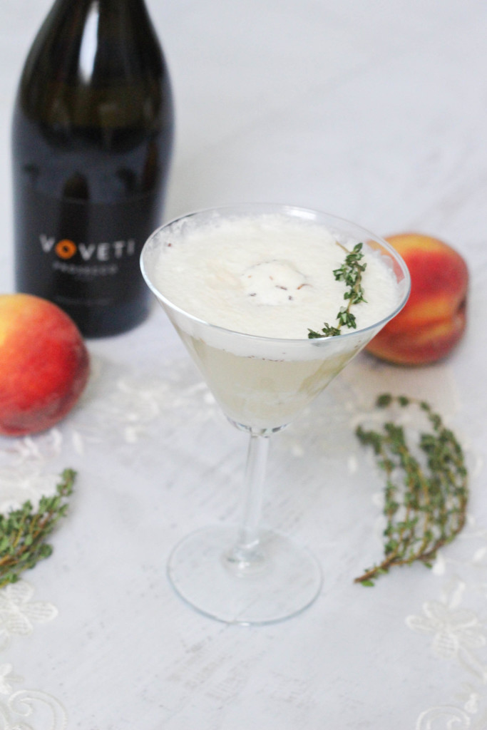 The Voveti Spring - Voveti Prosecco Peach Coconut Ice Cream Cocktail Recipe by The Frosted Petticoat