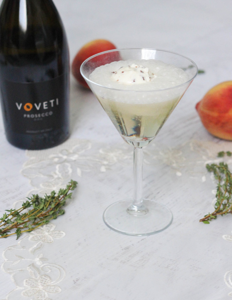 The Voveti Spring Voveti Prosecco Peach Coconut Ice Cream Cocktail Recipe by The Frosted Petticoat 7 792x1024 - The Voveti Spring Cocktail