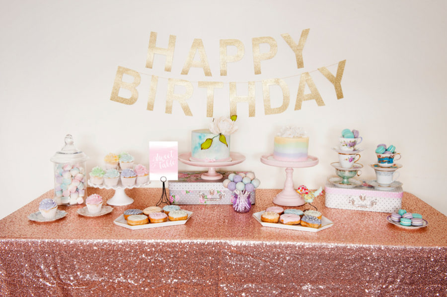 Watercolor birthday party theme 1