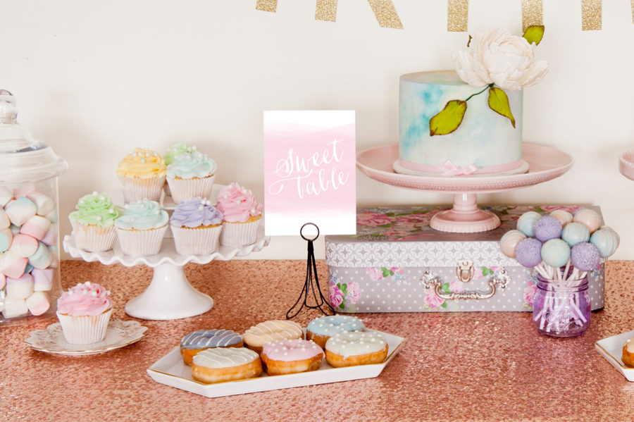 Watercolor birthday party theme 2