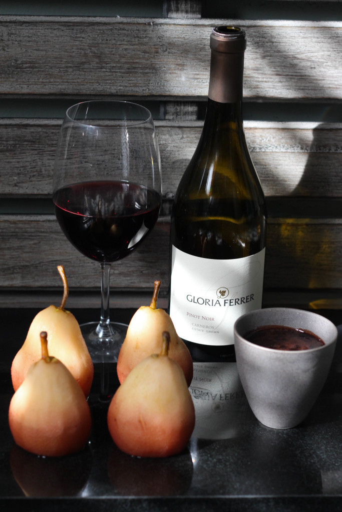 Wine Poached Pears with Gloria Ferrer Carneros Pinot Noir