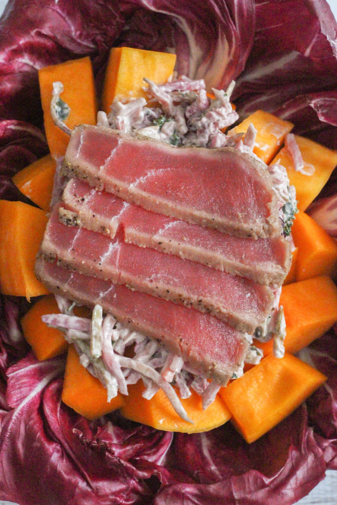 Bumble Bee SuperFresh® Seared Ahi Tuna on top of Beet Greek Yogurt Slaw