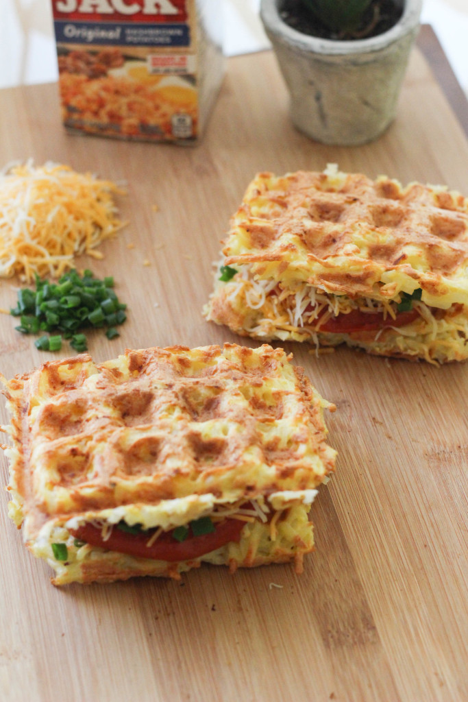 Waffle-iron Hashbrown Sandwich with grilled tomato, shredded cheese, and chives - Hungry Jack & The Frosted Petticoat