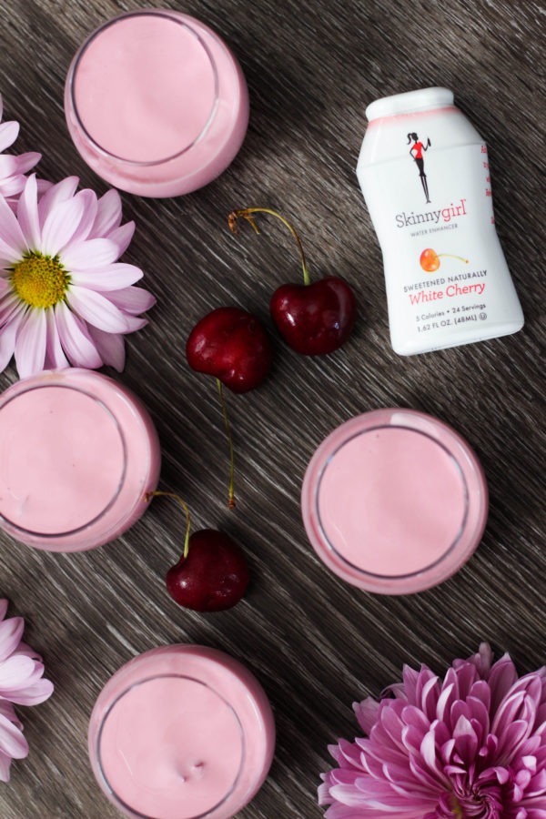 Cherry Lassi Shooters featuring SkinnyGirl 1 1 - Skinny Cherry Lassi Shooters