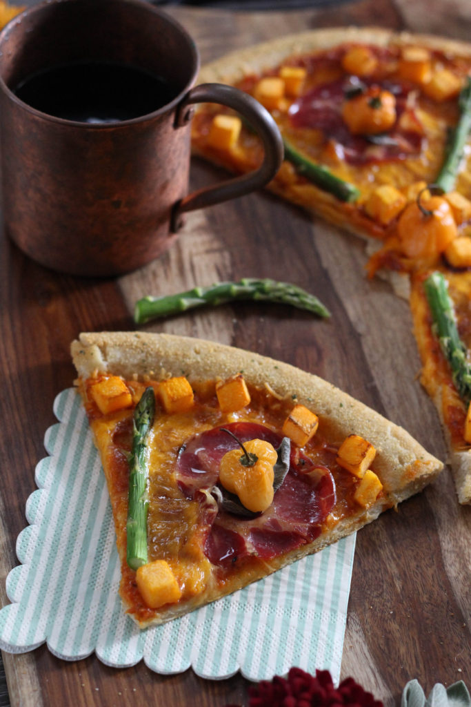 Spicy Harvest Pizza Sweet Potato Asparagus Sage Habenero Chilis and Proscuitto 1 1 683x1024 - Fashionable Food: Spicy Harvest Pizza