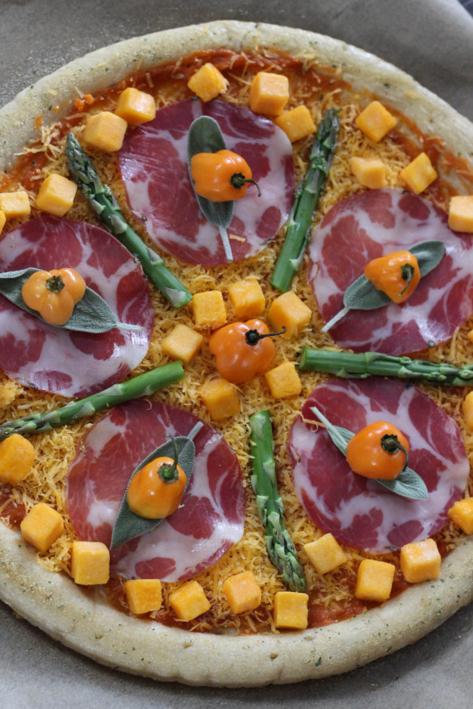 Spicy Harvest Pizza Sweet Potato Asparagus Sage Habenero Chilis and Proscuitto 683x1024 - Fashionable Food: Spicy Harvest Pizza