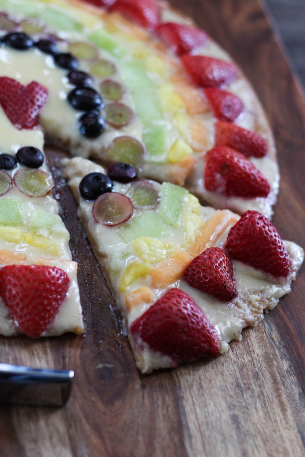 Mascarpone Fruit Rainbow Pizza Slice - Mascarpone Rainbow Pizza