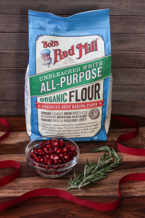 Pomegranate Rosemary Bread Wreath with Bobs Red Mill ingredients - Pomegranate Rosemary Bread Wreath