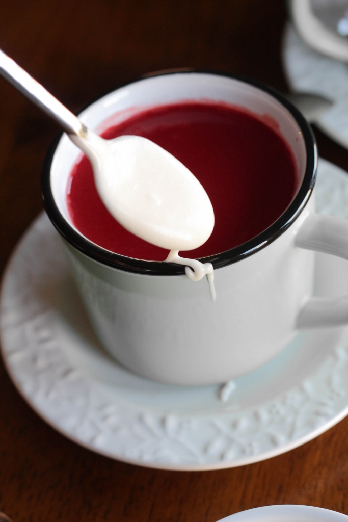 Red Velvet Hot Chocolate rimmed with cream cheese sauce  683x1024 - Red Velvet Hot Chocolate