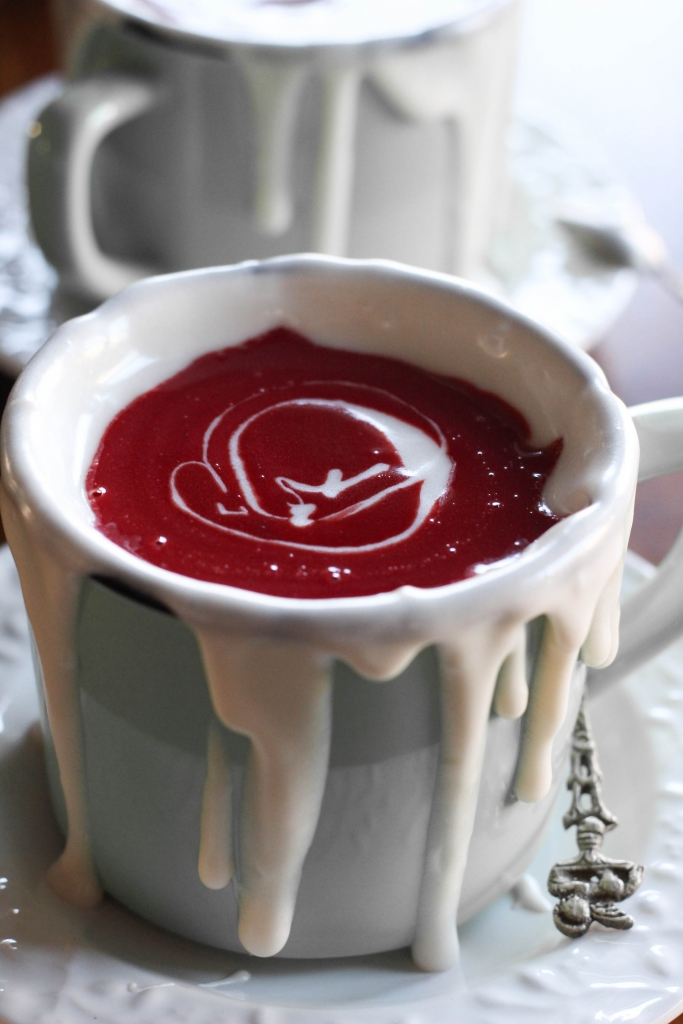 Red Velvet Hot Chocolate rimmed with cream cheese sauce 1 1 683x1024 - Red Velvet Hot Chocolate