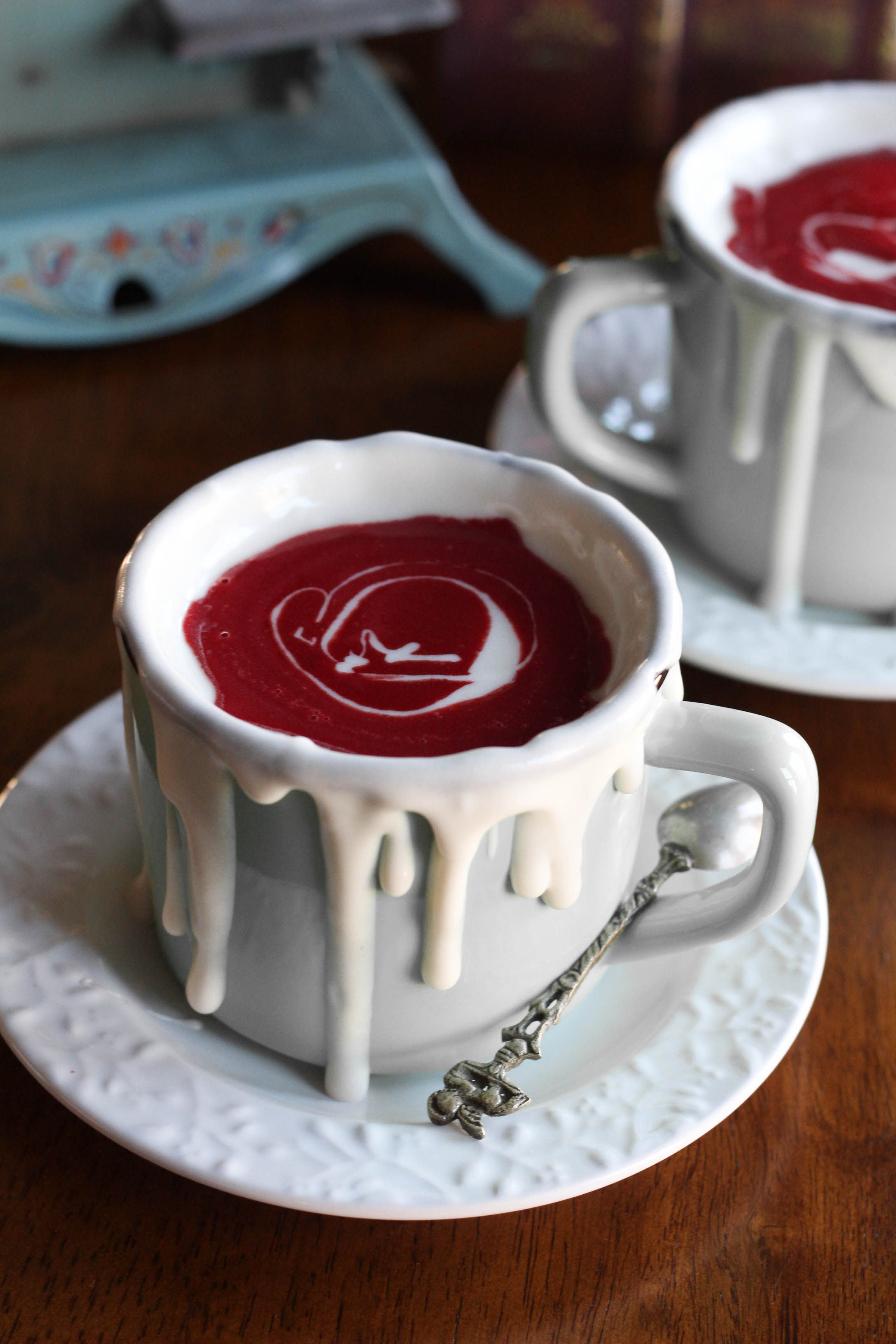 Red Velvet Hot Chocolate rimmed with cream cheese sauce 1 2 - Red Velvet Hot Chocolate