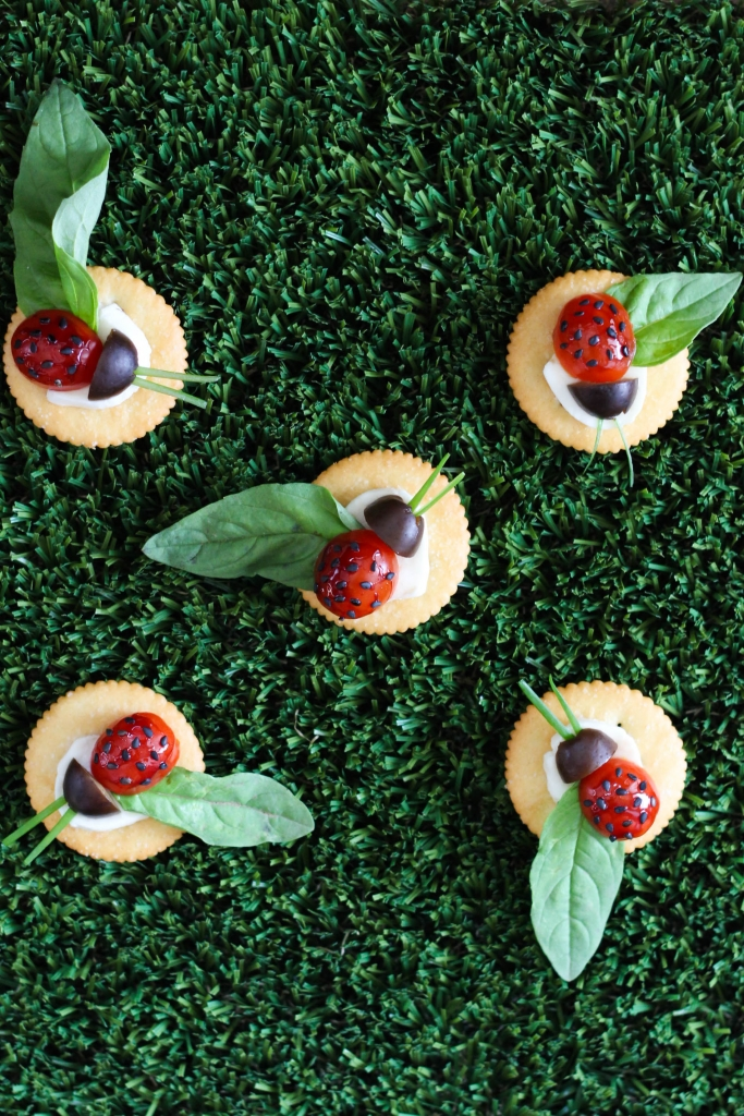 Caprese Lady Bug Ritz Crackers 683x1024 - Caprese Ladybugs