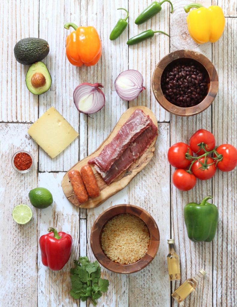 crock-pot, bell peppers, téquila, skirt steak