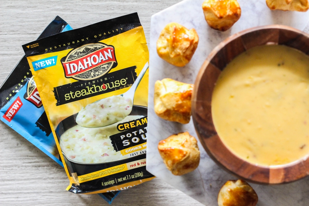 Idahoan soup, potato soup, cheesy chestnut poppers