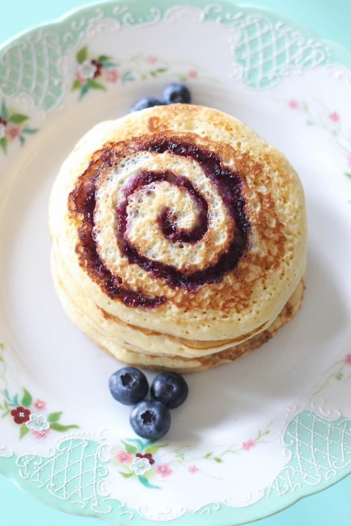 Blueberry Swirl Pancakes 683x1024 - Blueberry Swirl Pancakes with Nutella® Hazelnut Spread
