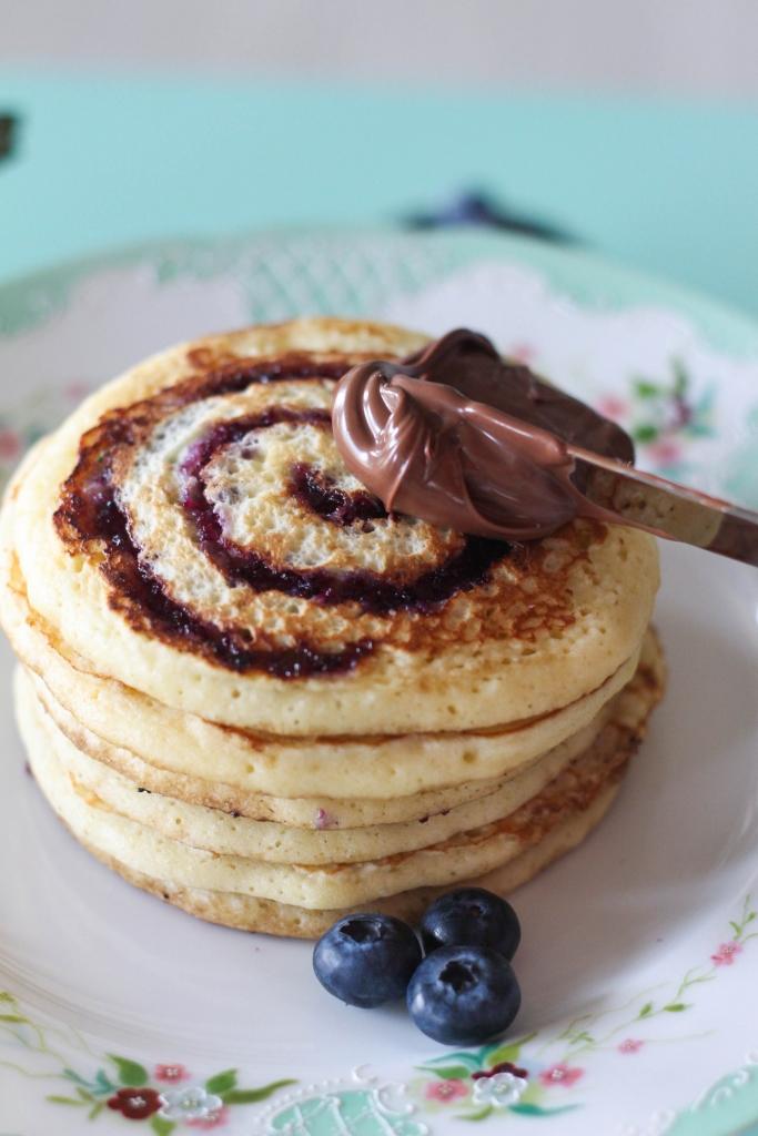 Blueberry Swirl Pancakes with Nutella Hazelnut Spread 1 3 683x1024 - Blueberry Swirl Pancakes with Nutella® Hazelnut Spread