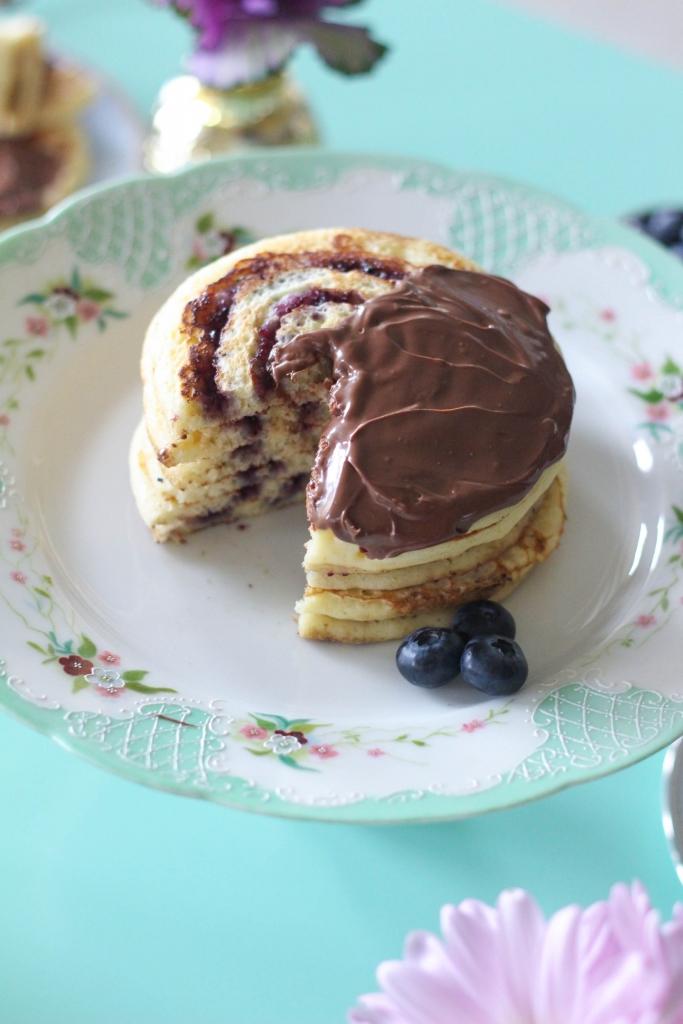 Blueberry Swirl Pancakes with Nutella Hazelnut Spread 1 683x1024 - Blueberry Swirl Pancakes with Nutella® Hazelnut Spread