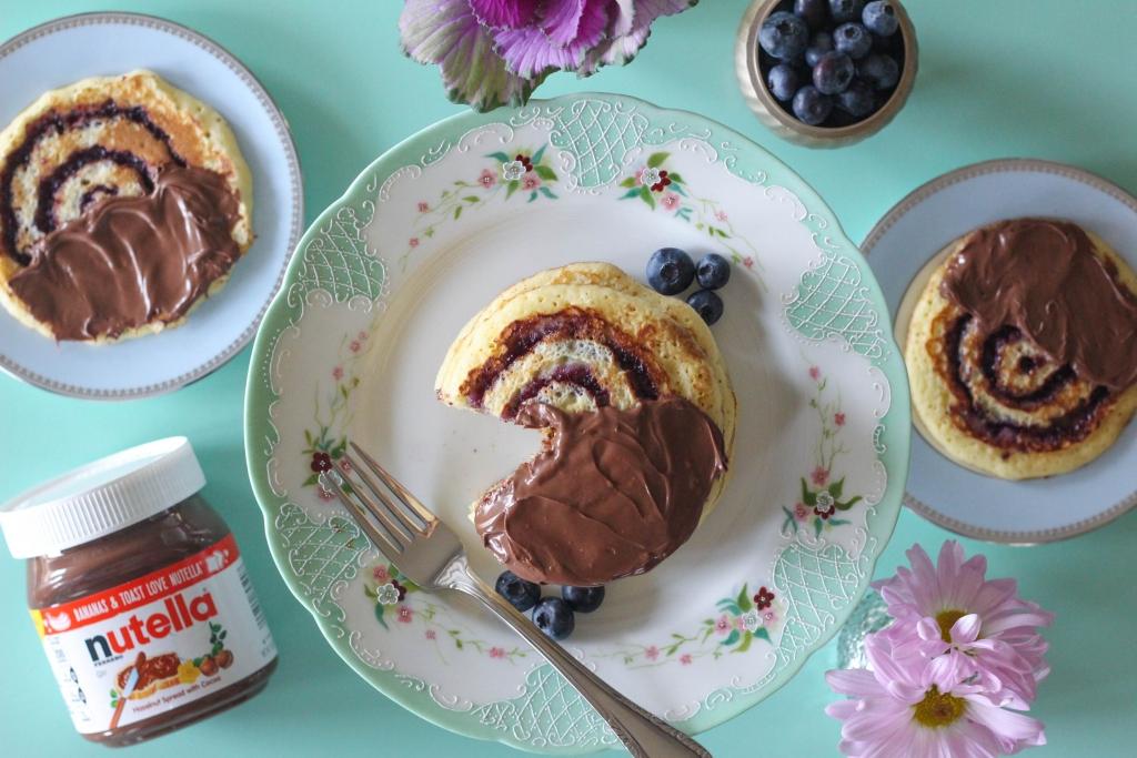 Blueberry Swirl Pancakes with Nutella Hazelnut Spread 3 1024x683 - Blueberry Swirl Pancakes with Nutella® Hazelnut Spread