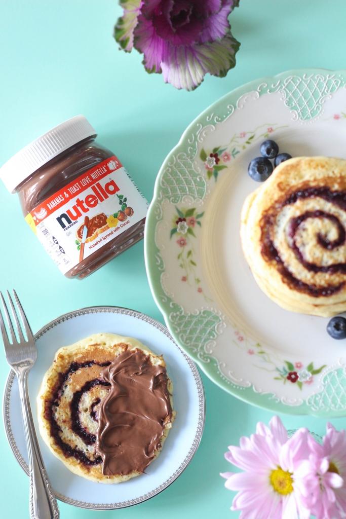 Blueberry Swirl Pancakes with Nutella Hazelnut Spread 683x1024 - Blueberry Swirl Pancakes with Nutella® Hazelnut Spread
