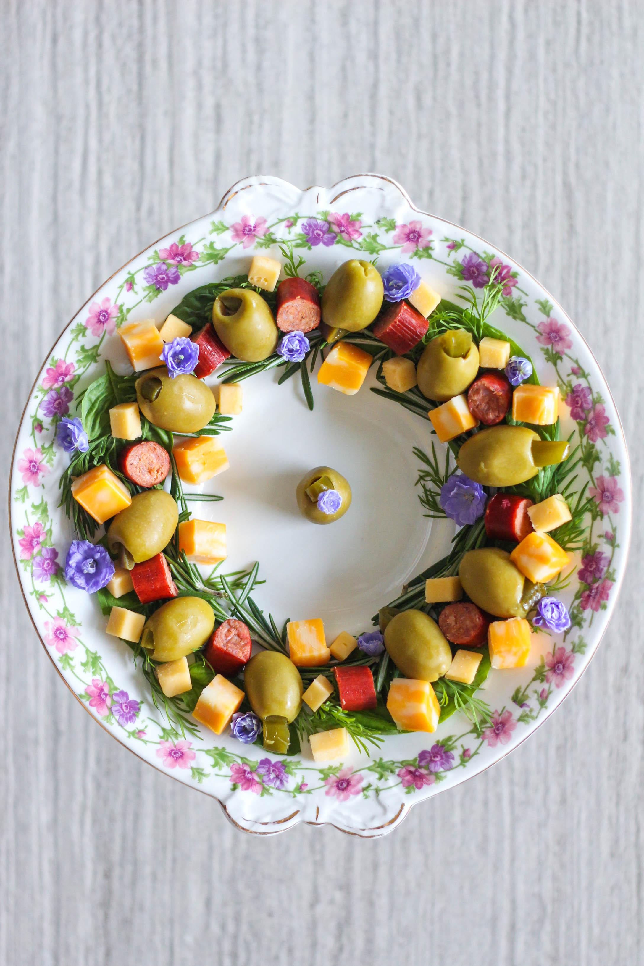 Jalapeño Stuffed Olives, Herb Wreath, Pearls Specialties