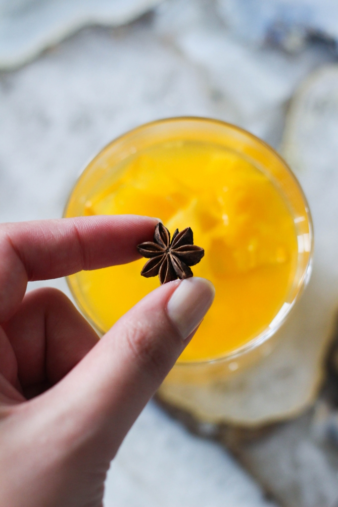 Passion Fruit Peach Gin Smash anise star 683x1024 - Passion Fruit & Peach Smash Gin Cocktail