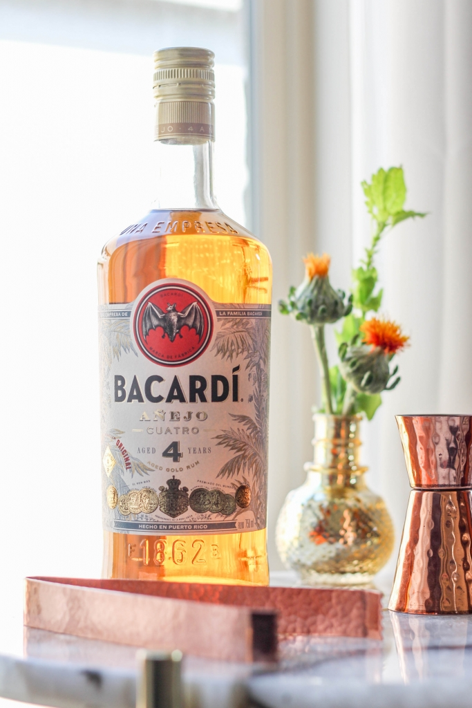 Valkyrie Gold Cocktail with Bacardi Añejo Cuatro bottle 683x1024 - Valkyrie Gold Rum Cocktail