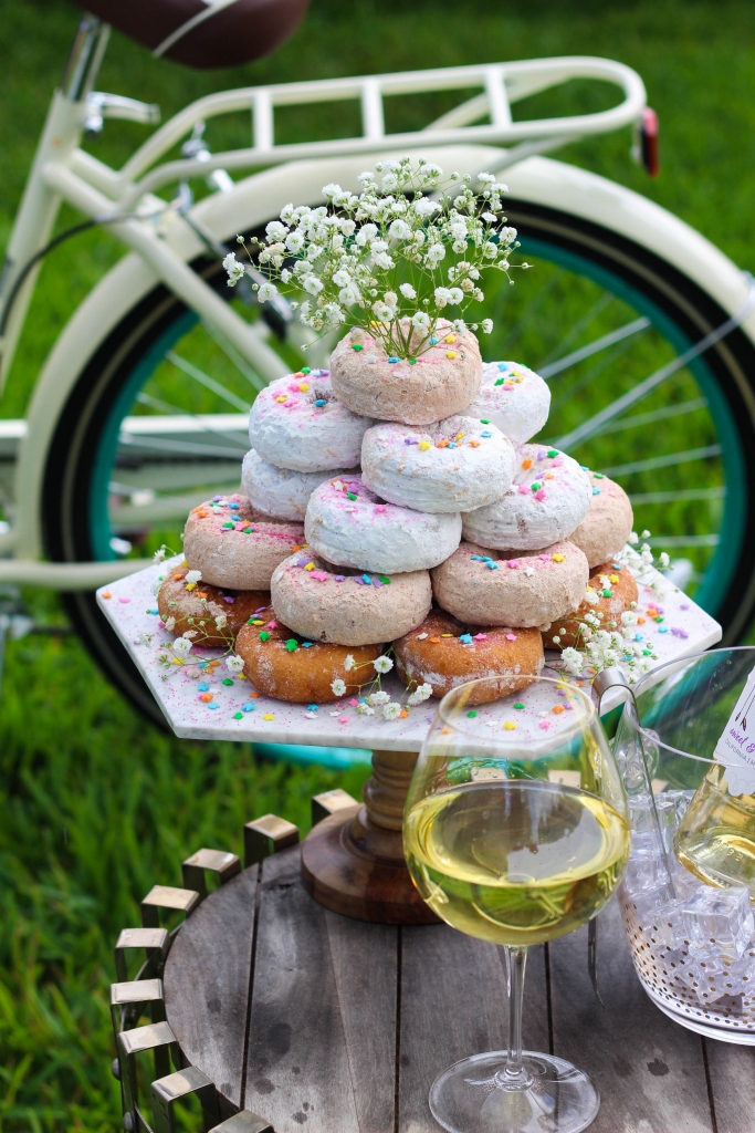 Backyard Bestie Birthday Party, Donut Tower, Middle Sister Wine
