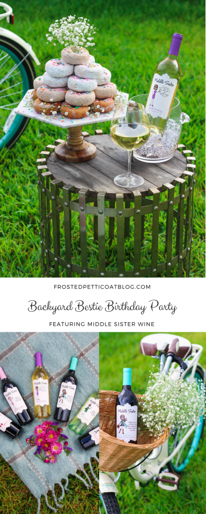 Backyard Bestie Birthday Party - Donut Tower & Middle Sister Wine