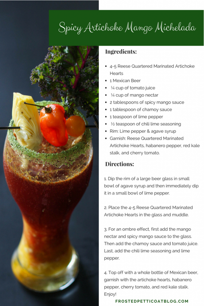 Recipe Card Spicy Artichoke Mango Michelada 683x1024 - Spicy Artichoke Mango Michelada