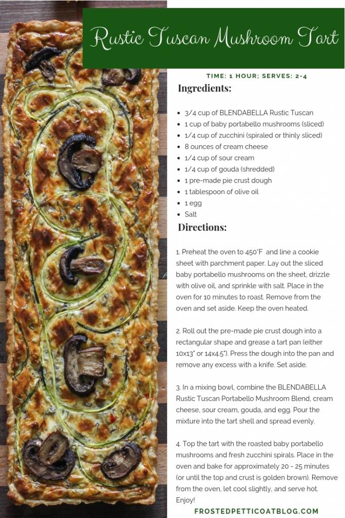 Rustic Tuscan Mushroom Tart Recipe Card 683x1024 - Rustic Tuscan Mushroom Tart